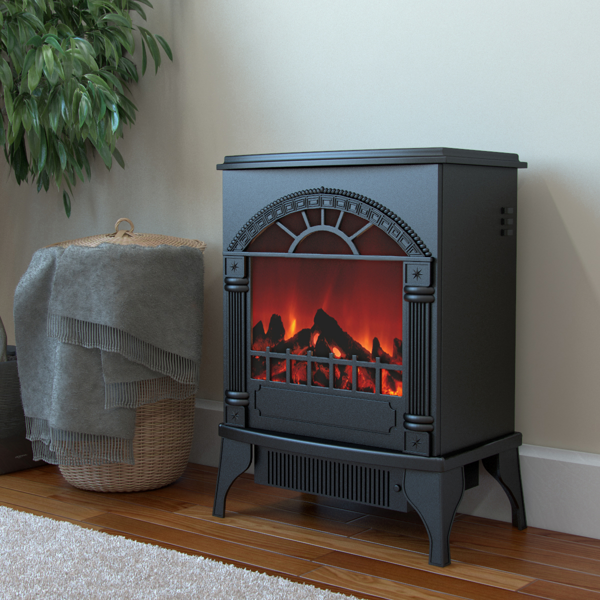Apollo Electric Fireplace Free Standing Portable Space