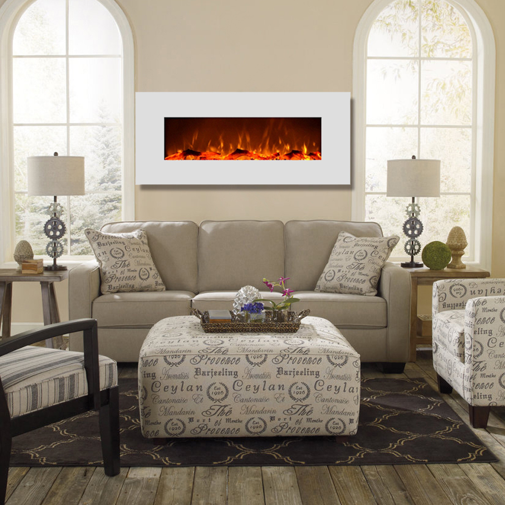 liberty 50 inch electric wall mounted fireplace white