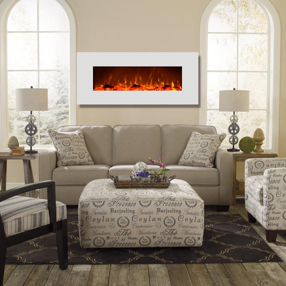 Liberty 50 Inch Electric Wall Mounted Fireplace White