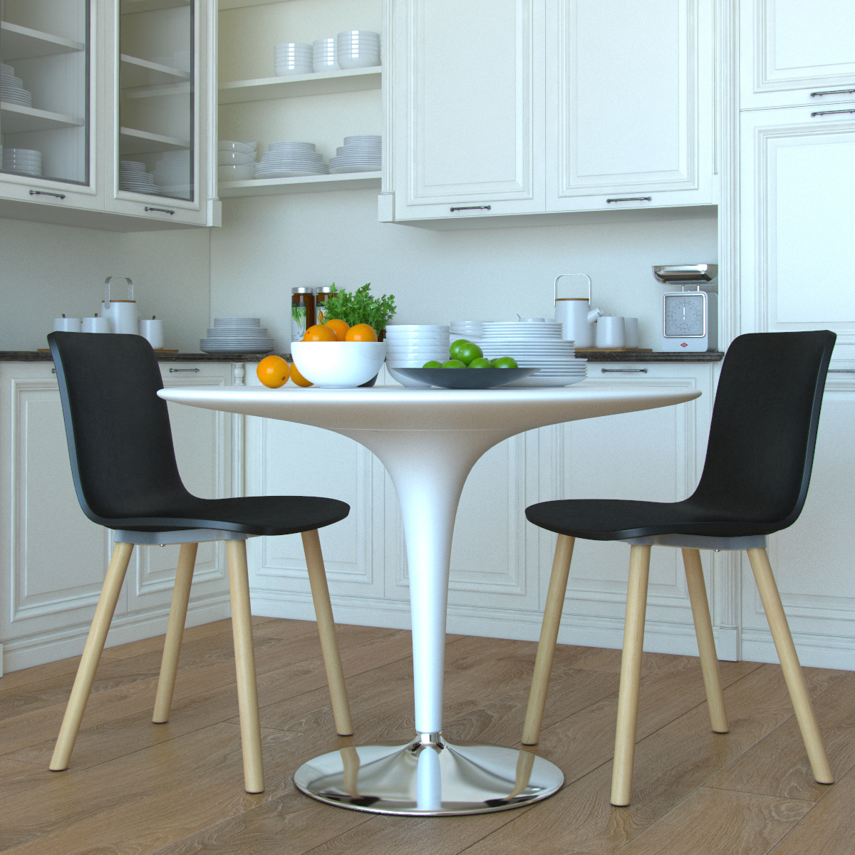 Studio Plastic Modern Dining Chair In Black