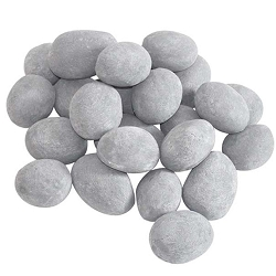 Set of 24 Ceramic Pebbles for Firepit or Fireplaces in Gray