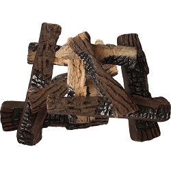 Set of 10 Ceramic Wood Gas Logs for Fireplaces and Fire Pits
