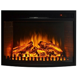 23 Inch Curved Ventless Electric Space Heater Built-in Recessed Firebox Fireplace Insert
