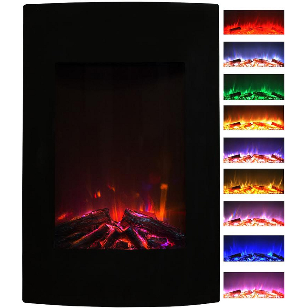 Black wall mounted electric fireplace - Alpine 23 Inch Multi Color Curved Black Wall Mounted Electric Fireplace