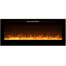 Alpine 60 Inch Crystal Built-In Recessed Wall Mounted Electric Fireplace