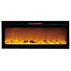 Reno 60 Inch Log Built-In Recessed Wall Mounted Electric Fireplace