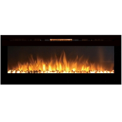 Reno 60 Inch Pebble Built-In Recessed Wall Mounted Electric Fireplace