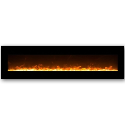 Lima 95 Inch Crystal Wall Mounted Electric Fireplace