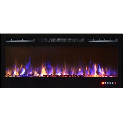 Bombay 36 Inch Crystal Recessed Touch Screen Multi-Color Wall Mounted Electric Fireplace