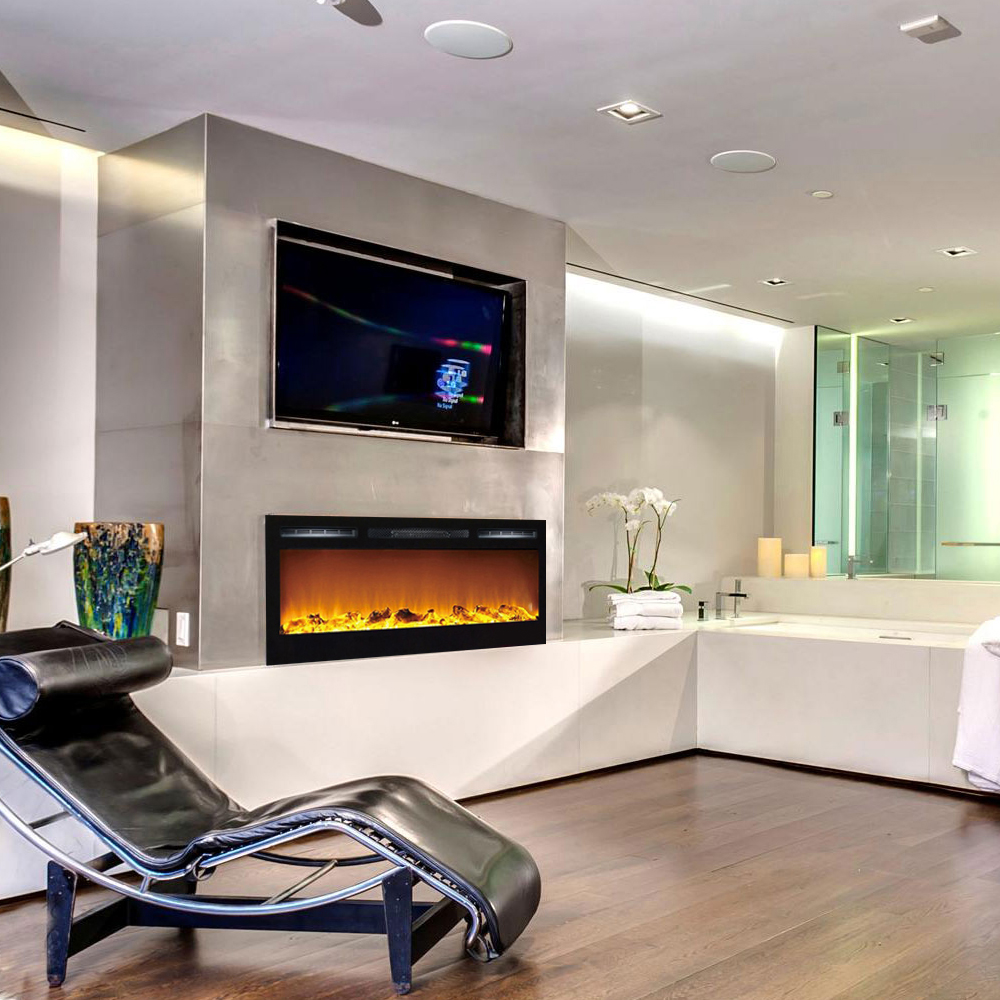 Madison 36 Inch Logs Recessed Wall Mounted Electric Fireplace