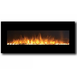 Milan 50 Inch Pebbles Electric Wall Mounted Fireplace Black