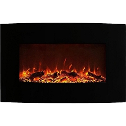 Neptune 35 Inch Logs Curved Black Wall Mounted Electric Fireplace