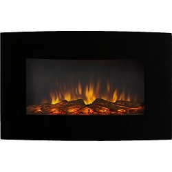 Soho 35 Inch Curved Black Log Wall Mounted Electric Fireplace
