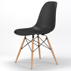 Armin Wood Leg Dining Side Chair in Black