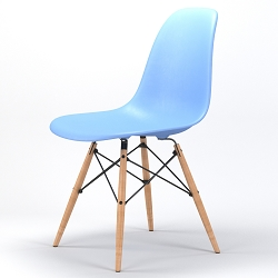 Armin Wood Leg Dining Side Chair in Light Blue