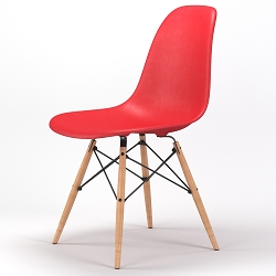 Armin Wood Leg Dining Side Chair in Red