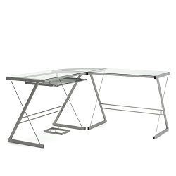 Madison L-Shaped Computer Desk in Silver