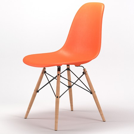 Armin Wood Leg Dining Side Chair in Orange