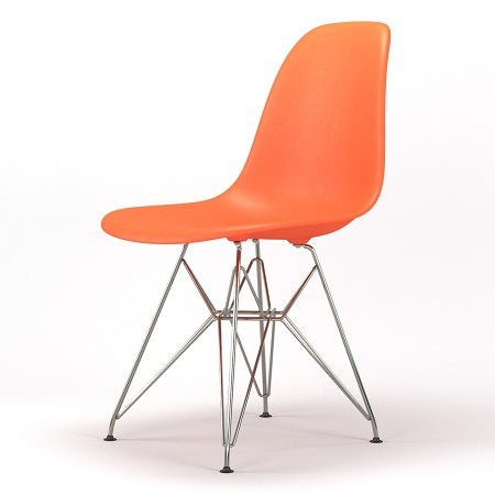 Armin Wire Base Dining Side Chair in Orange