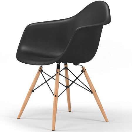 Drame Wooden Base Armchair in Black