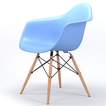 Drame Wooden Base Armchair in Light Blue