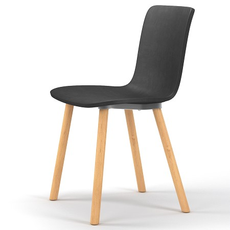 Studio plastic modern dining chair in black for Black plastic dining chairs