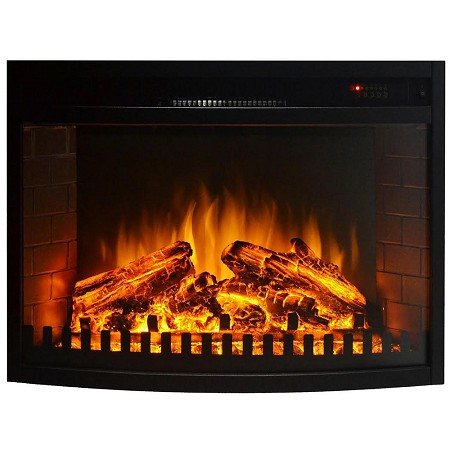 33 Inch Curved Ventless Electric Space Heater Built-in Recessed Firebox Fireplace Insert