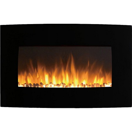 Soho 35 Inch Pebbles Curved Black Wall Mounted Electric Fireplace