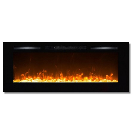 Sydney 50 Inch Crystal Recessed Wall Mounted Electric Fireplace