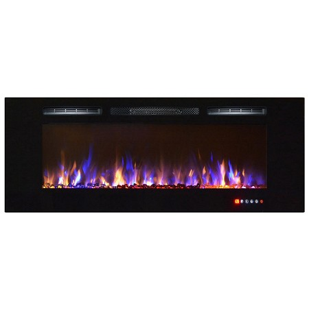 Bombay 60 Inch Crystal Recessed Touch Screen Multi-Color Wall Mounted Electric Fireplace