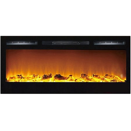 Madison 36 Inch Log Recessed Wall Mounted Electric Fireplace